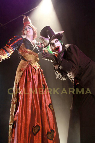 alice in wonderland themed entertainment - queen of hearts and dark hatter stilt acts