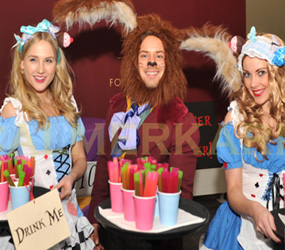 ALICE IN WONDERLAND THEMED DRINKS HOSTESSES AND HOSTS TO HIRE