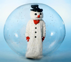 winter wonderland snowman performer in a bubble hire