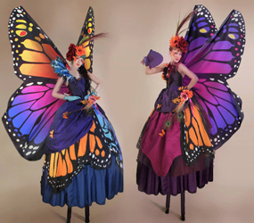 BUTTERFLY STILTS -GARDEN PERFORMERS TO HIRE UK
