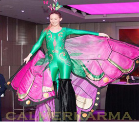 butterfly stilt acts hire - garden and nature themed events