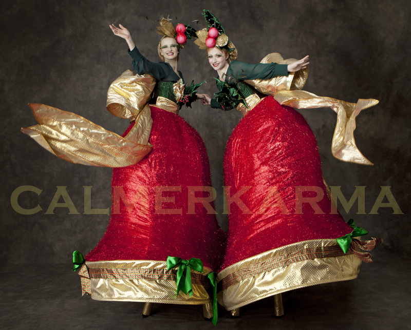 CHRISTMAS THEMED STILTS THE RING A BELLS TO HIRE LONDON MANCHESTER BIRMINGHAM