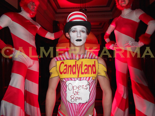 WILLY WONKA THEMED ENTERTAINMENT -CANDY HOST BODY PAINTED AND CANDY STILTS WELCOME TO THE CHOCOLATE FACTORY