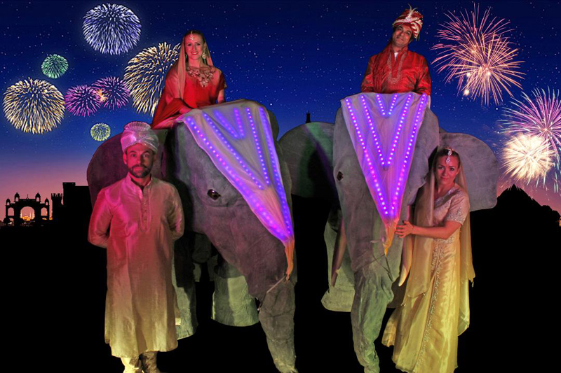 DIWALI STILTS - LED ILLUMINATED ELEPHANT - BOLLYWOOD AND DIWALI CELEBRATION EVENTS TO HIRE
