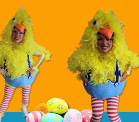 easter chicks act - funky roller skating chicks to give out eggs and make your Easter event guests Eggstatic!