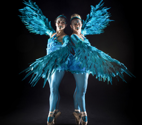 winter wonderland ballerinas - feather wing ballet dancers to hire uk