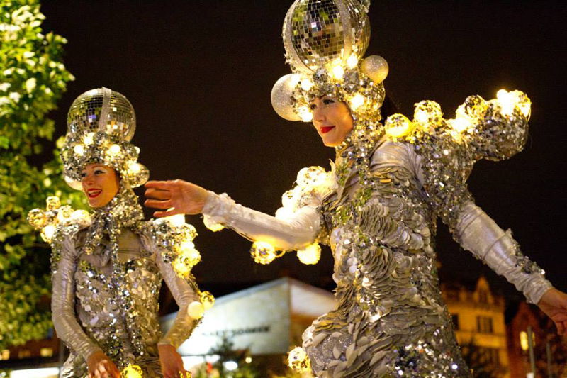 GLITTER BALL LED STILT WALKERS TO HIRE UK