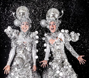 WINTER WONDERLAND THEMED ENTERTAINMENT - GLITTER BALL STILTS ACT LONDON UK