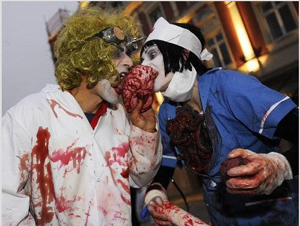 HALLOWEEN STILT WALKERS -FLESH EATING DOCTOR + NURSE