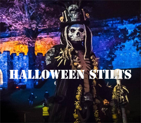 HALLOWEEN THEMED STILT WALKERS TO HIRE - STILT PERFORMERS UK HIRE
