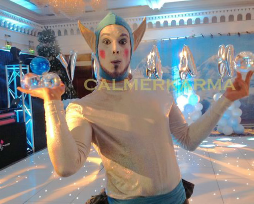 winter wonderland themed entertainers to hire - ice elf snowball juggler