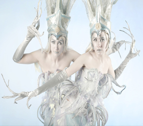 winter wonderland themed entertainment - ICE stilts to hire - wicked ice queen duo
