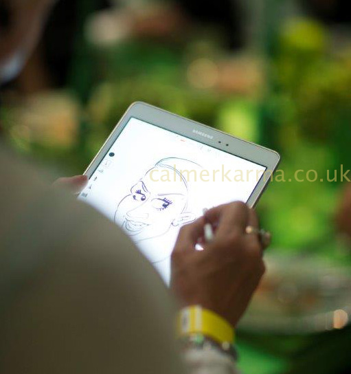 CARICATURISTS TO HIRE FOR EVENTS - IPAD CARICATURISTS UK