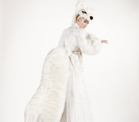 WINTER WONDERLAND STILT ACTS TO HIRE - ARCTIC ICE FOX STILTS