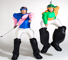 COMEDY JOCKEY STILTS - HORSE RIDING THEMED ACTS TO HIRE - SPORTS ENTERTAINMENT IDEAS
