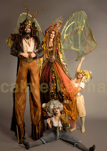 MIDSUMMER NIGHTS DREAM THEMED ENTERTAINMENT - STILT WALKERS AND ACROBATS LONDON AND UK