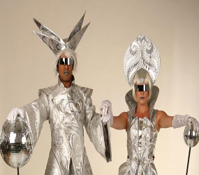 FUTURISTIC THEMED STILTS - PLANET SILVER KING & QUEEN STILT HIRE