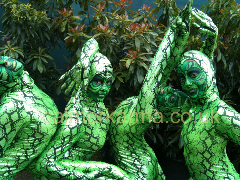 RAINFOREST THEMED ENTERTAINMENT - BESPOKE SNAKE CONTORTIONISTS ACT HIRE LONDON UK