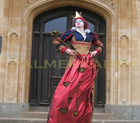 ALICE IN WONDERLAND - QUEEN HEARTS STILTS HIRE