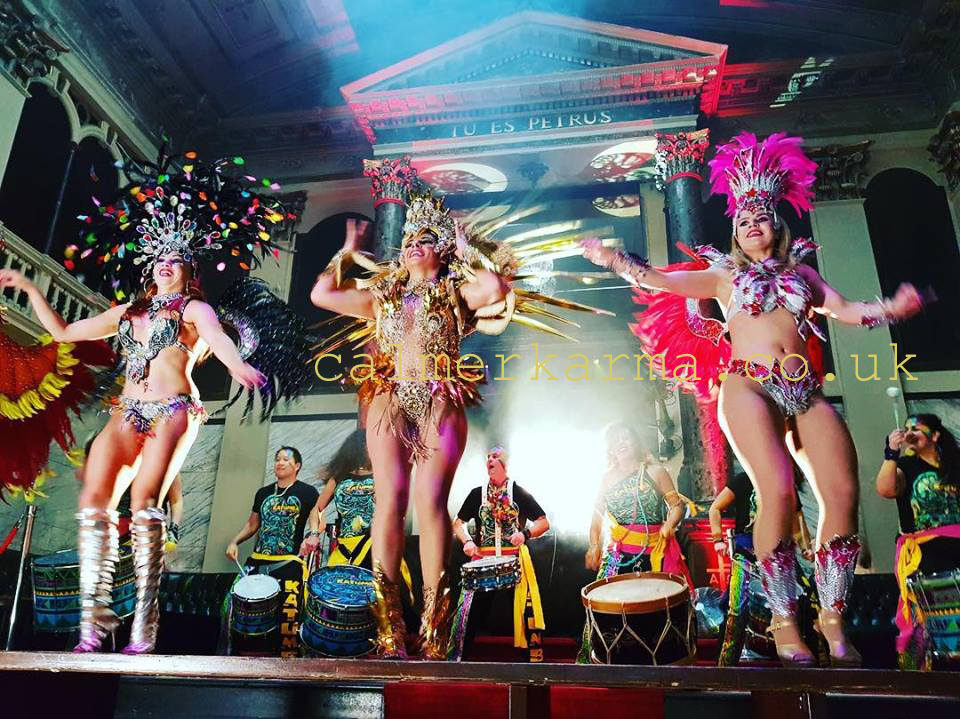 RIO CARNIVAL SAMBA DANCERS STAGED ACTS TO HIRE WITH LIVE DRUMMERS UK
