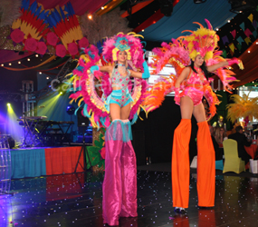 RIO CARNIVAL THEMED STILT WALKERS TO HIRE UK