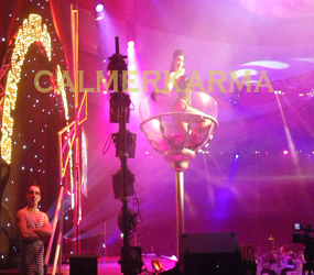 PARIS-CAN-CAN-THEME-SHOWGIRL IN A GIANT CHAMPAGNE GLASS