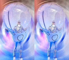 space themed entertainment - silver spacemen walkabout act - social distance friendly act ideas