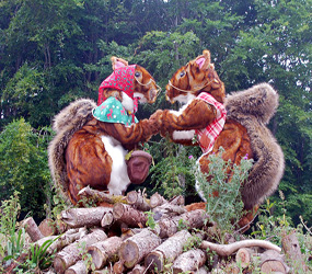 GARDEN & WOODLAND THEMED ACTS - COMICAL SQUIRREL DUO ACT UK
