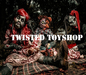 HALLOWEEN TWISTED TOYSHOP THEMED ENTERTAINMENT PERFORMERS TO HIRE LONDON MANCHESTER BIRMINGHAM