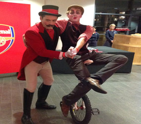 GREATEST SHOWMAN THEMED ACTS TO HIRE - UNICYCLIST AND RINGMASTER BARNUM BANANAS HIRE LONDON