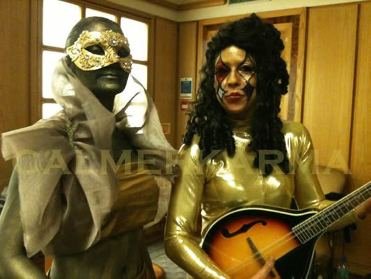 VENETIAN MASKED BALL THEMED ENTERTAINMENT -MASKED STATUE AND LUTE PLAYER