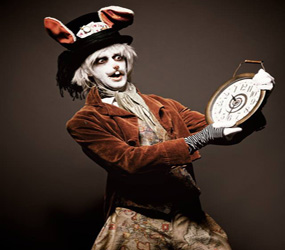 alice in wonderland themed entertainment- white rabbit steampunk walkabout act