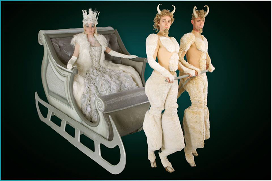 WINTER WONDERLAND THEMED ENTERTAINMENT - SNOW QUEEN SLEIGH + ICE FAWNS ACT TO HIRE