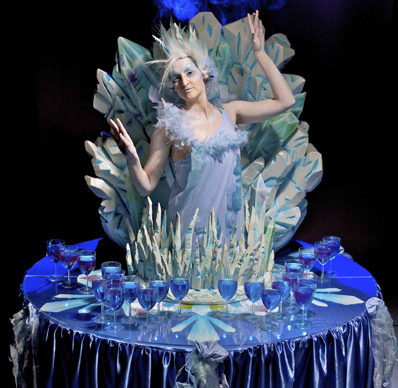 WINTER THEMED PARTIES - ICE QUEEN LIVING DRINKS TABLE PERFORMERS TO HIRE