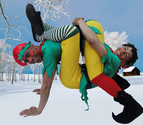 CHRISTMAS THEMED ACROBATS-CRAZY CHRISTMAS ELVES TO HIRE LONDON