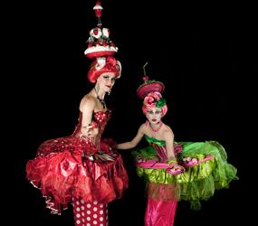 GREATEST SHOWMAN THEMED ENTERTAINMENT - CANDY THEMED STILT WALKERS - THE CUPCAKE STILTS ACT HIRE
