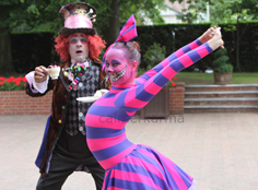 Alice in Wonderland themed entertainment - Mad Hatter Lookalike and Cheshire Cat stretch