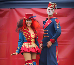 CIRCUS & GREATEST SHOWMAN THEMED STILTS TO HIRE