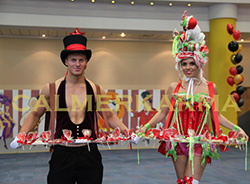 CIRCUS THEMED ENTERTAINMENT - CANDY AND CANAPE HOSTS AND HOSTESSES TO HIRE UK
