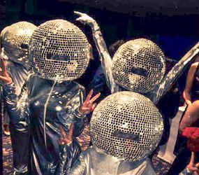 DISCO THEMED ENTERTAINMENT - MIRROR BALL HEAD DANCERS TO HIRE