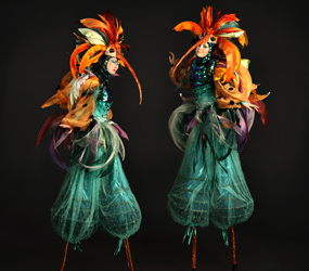 GARDEN THEMED ENTERTAINMENT - EXOTIC BIRD STILT WALKERS