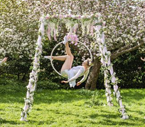GARDEN & SUMMER THEMED ENTERTAINMENT -FLORAL AERIALISTS HIRE LONDON, MANCHESTER, BIRMINGHAM