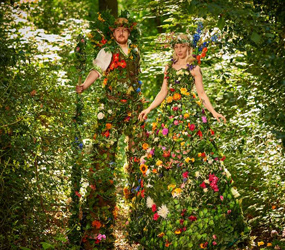 FLOWER THEMED STILT WALKERS
