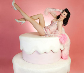 CAKE PERFORMERS TO HIRE - GIRL IN A CAKE CABARET ACT LONDON