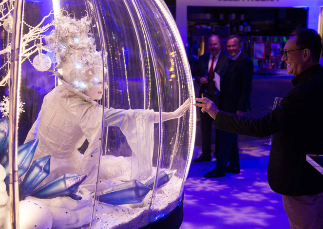 WINTER WONDERLAND THEMED ENTERTAINMENT - SNOW QUEEN IN GLIDING GLOBE - COVID SECURE ACTS HIRE
