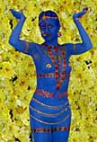 BOLLYWOOD THEMED LIVING STATUE: blue-hindi-bodypaint-living-statue