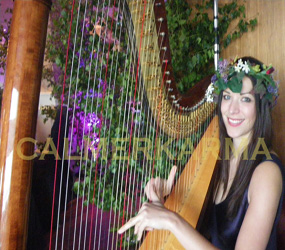 SUMMER GARDEN THEMED ACTS - FLORAL HARPIST TO HIRE - WEDDING AND GARDEN PARTY ENTERTAINMENT LONDON AND MANCHESTER