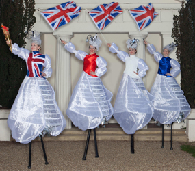 FLAG WAVING STILTS - CUSTOM FLAGS - OLYMPIC THEME