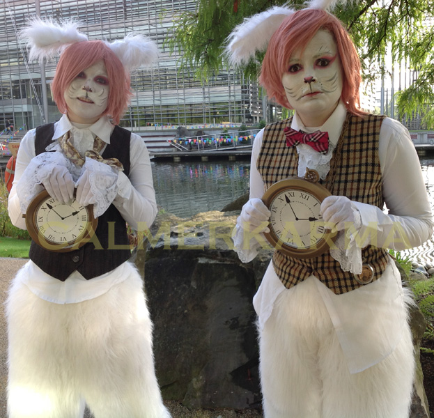 ALICE IN WONDERLAND THEMED WALKABOUT ACTS TO HIRE - WHITE RABBITS - LONDON BRISTOL MANCHESTER BIRMINGHAM