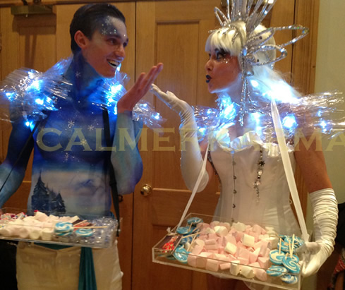 WINTER WONDERLAND THEMED ENTERTAINMENT - WINTER KISSES CANAPE HOSTESS + CANDY HOST TO HIRE UK